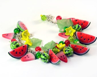 Watermelon bracelet - cha cha charm - Polymer clay jewelry - Great gift - Handmade bijouterie - Fruit jewellery
