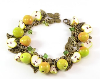 Apple cha cha charm Bracelet - Polymer clay jewelry - Handmade Gift - Apples