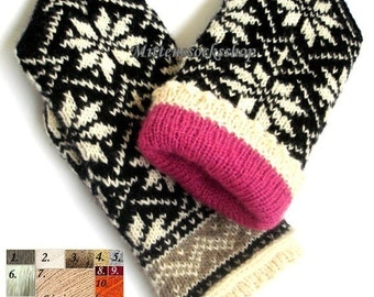 Double Mittens Hand Knitted White Black Double Mittens Wool Mittens with Lining Warm Gloves with Lining Winter Mittens Patterned Mittens