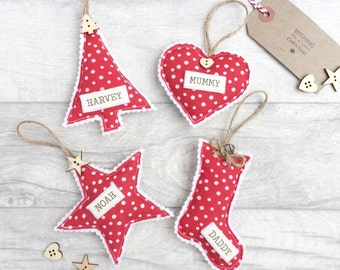 Personalised Christmas Bauble, Christmas Decoration, Christmas Ornaments, Festive Home Decor, Nordic Christmas, Tree, Star, Stocking, Heart