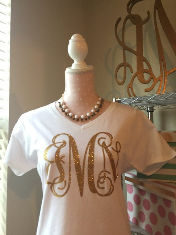 Ladies V Neck Monogrammed T Shirt Monogrammed By Annmonograms