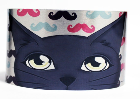 Hipster Cat with Blue, Pink, Black Mustaches Aluminum Bracelet, Silver Tone Arm Band