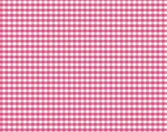 Riley Blake Fabric-Gingham Fabric-Hot Pink Gingham Fabric-Quilting Fabric-Wonderland Fabric-Sewing Fabric-Fabric by the Yard-Yardage