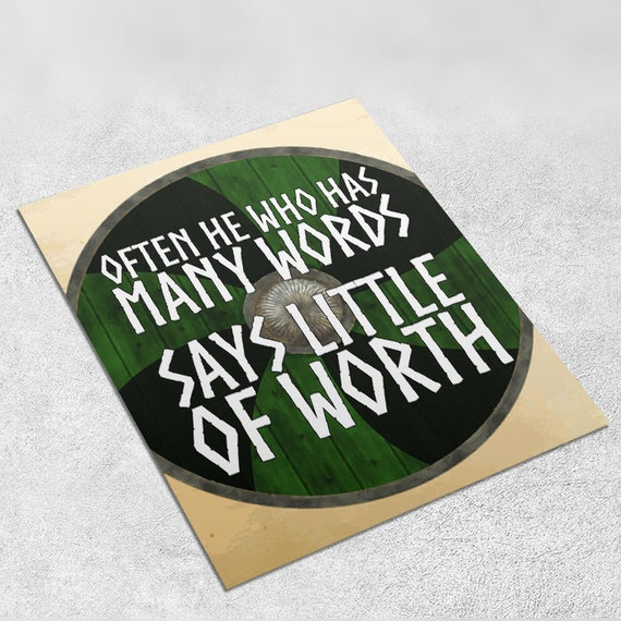 Vikings Quote Art Print 'He who has many words' INSTANT DOWNLOAD 8x10 inches - Wall Decor, Viking Art Print, Home Decor, Printable Gift