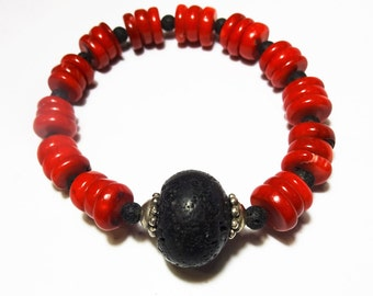 Lava bracelet-Lava rock-Volcanic lava-Black lava-Santorini lava-Red coral-Natural stones-Eco friendly-Organic-Greek jewelry-Handmade jewelry