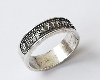 Size 11,5 US, Rune ring, Futhark ring, Elder Futhark, Rune jewelry, Viking ring, Runes, Runic jewelry, Rings, Nordic jewelry, Norse rings
