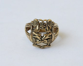 Two wolves, Wolf ring, Wolves ring, Celtic wolves, Brass ring, Brass jewelry, Men ring, Modern rings, Fiashion rings