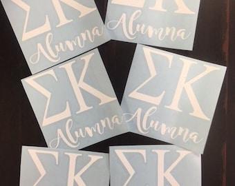 Custom Sigma Kappa Alumna Car Decals - Other sororities available