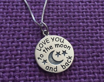 Mom Necklace - Mothers Day Gift - love you to the moon - Mom Necklace - Mom Jewelry - Sterling Silver - Dainty Minimalist - Mother - Family