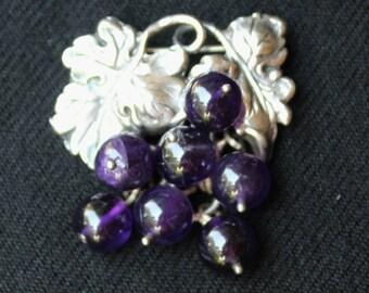 Vintage MING'S AMETHYST Grape Cluster Sterling Silver BROOCH