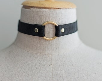 Black Leather Choker. Statement Necklace. EP0009