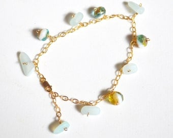 Sea Glass Bracelet, Beaded Bracelet Gold, Czech Glass Bead Bracelet, Gold Link Bracelet