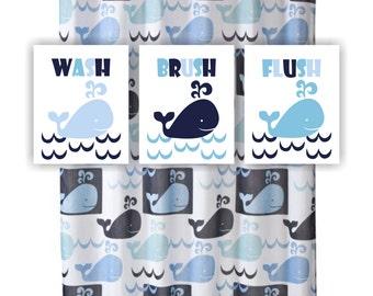 Baby Boy Bathroom Art Print Set Of 3 8x10 Whale Bathroom Decor Wash