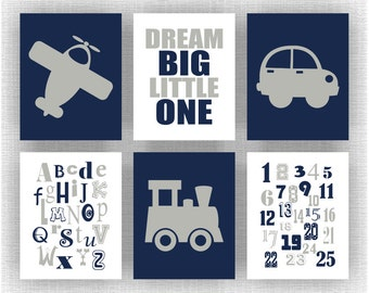 Navy Blue and Grey,Transportation Baby Boy Nursery Wall Art Set of 6, 8x10 Instant download, Airplane, Train, Car, Alphabet, Numbers, abc