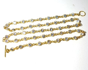 14 karat gold vermeil bezel chain with CZ, bezel chain, long chain,