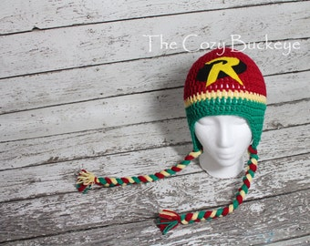Robin Hat Batman inspired Crochet Character Hat Photography Prop Halloween Costume DC Comics Sizes Newborn to Adult