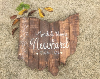Reclaimed & Upcycled Ohio Wedding Mr. and Mrs. Newlywed Bride and Groom Personalized Rustic Wood Sign Cutout Wall Art Decor