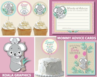 Koala Bear Girl Baby Shower Printable Package   Koala Girl Baby Shower   Girl Baby Shower   INSTANT DOWNLOAD   Party Safari By Candace