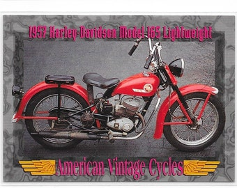 American Vintage Cycles 1957 Harley Davidson Model 165 Lightweight Trading Card from 1993