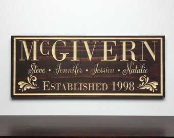Personalized Family Name Sign,  Family Name Plaque, Family Established Sign, Established Plaque, Wood Anniversary Gift, 9x23