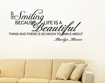 Keep Smiling- Marilyn Monroe Vinyl Wall Quote Decal Home Decor Wall Sticker (V176)