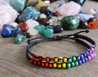 LGBT Bracelet, Lesbian Gay Bi and Trans Pride Support Bracelet, Beaded LGBT Bracelet, Rainbow Beaded Bracelet, Rainbow Bracelet