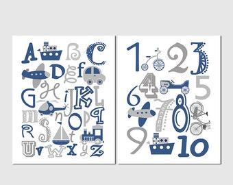 Printable file - Navy Blue and grey Alphabet and numbers nursery art print, navy, transportation, plane, nursery wall art, kids room decor