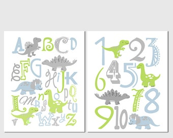 Blue and green dinosaur Alphabet and numbers art print set -UNFRAMED- abc, alphabet, numbers, t-rex, dinosaurs, grey, dino, apple green