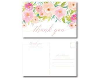 Floral Thank You Postcard, Thank You Card, Watercolor Flower, Watercolor Floral, Watercolor Wedding, Wedding Thanks, Wedding Postcard #CL131
