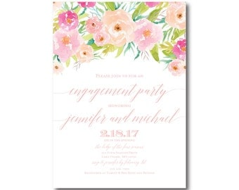 PRINTABLE Engagement Party Invitation, Floral Engagement Party Invitation, They're Engaged, Printable Engagement Party Invitation #CL131