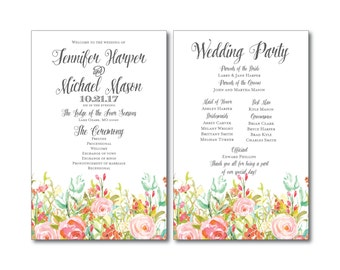 Floral Wedding Program - Country Chic - Watercolor Floral - Floral Wedding - Rustic Wedding - Ceremony Program - Order of Service