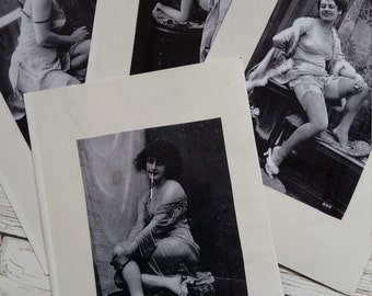 Vintage 1920's Saucy Smoking Ladies Prints/Photo's x 4.