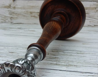 Beautiful Vintage 1950's  Wood and Pewter Candle Stick.