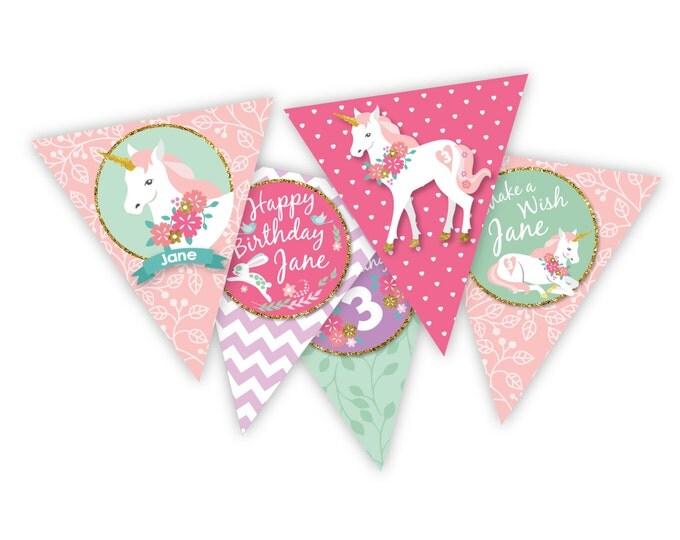Unicorn Bunting, Garland, Banner, Customized Printable DIY, Girl's Birthday Party, Unicorn gold glitter party