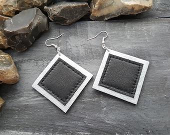 Silver leather earrings. Dangle earrings. Geometric earrings. Square earrings. Silver earrings. Black and silver earrings. Leather jewelry.