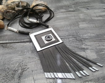 Long leather necklace. Geometric leather necklace. Black necklace. Tassel necklace. Geometric jewelry. Leather jewelry. Boho necklace.