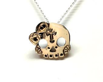 Sterling Silver Sugar Skull Pendant with Chain C02