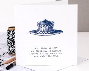 Birthday Card; 'Enjoy The Trip'; Friend Birthday Card; Birthday Cake Card; Card For Daughter; Card For Mom; GC298