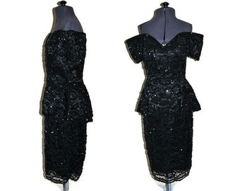 Black Sequin Pepulum Dress // 1980's Lillie Rubin Dress Off the Shoulder Pepulum // Sparkly Beaded and Sequin Dress