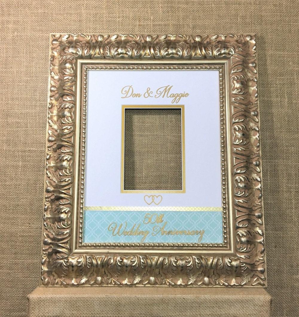 50th Birthday Signature Photo Frame: 50th Anniversary Golden Signature Matte Photo Mat For 11