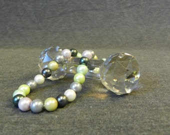 42 pcs Strand Multi Colored 8mm Round Faux Glass Pearls - Mint, Black, Grey, White, Lilac, Green