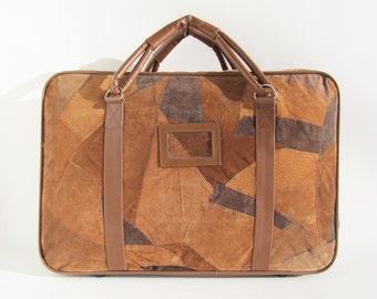 Vintage Suitcase • Vintage Suede Suitcase • Brown Suitcase • Vintage Brown Suitcase • Brown Travel Bag • Suede Travel Bag • Patchwork • New