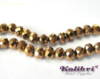 Faceted Glass Briolette Beads, Glass Rondelle Beads 6mm - Bronze