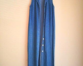 Vintage Button Down Denim Open Dress Size S