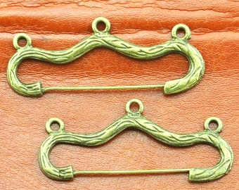 Safety Pins -Antique Bronze Safety Pin Brooch Charm Pendants,Pin Brooch with Three Loops Antique Bronze--- 17x45mm---B008