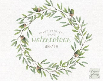 Watercolor wreath: painted floral wreath clipart / Wedding invitation clip art / acorn wreath / commercial use /winter forest wreath CM0085d