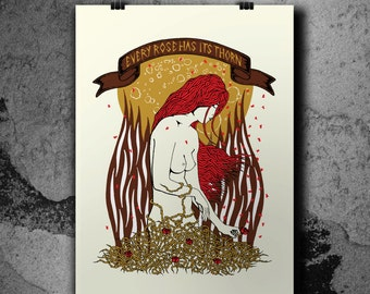 Every Rose Has Its Thorn - Handpulled Silkscreen Poster