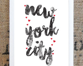 NYC - New York City with hearts print
