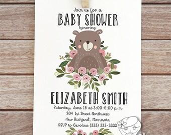 woodland shower invites with bear, baby girl printable invitation, woodland  baby shower invitation, digital invite bear party, animal  114