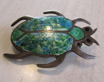 Sterling Silver Enamel Beetle Pin from Mexico